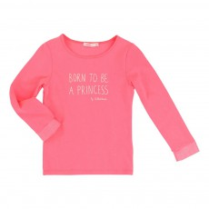 T-shirt Born To Be A Princess Rose fluo