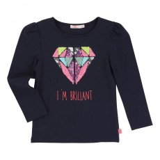 T-shirt Diamant Sequins Bleu indigo