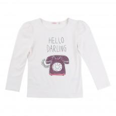 T-shirt Hello Darling Blanc cassé