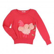 Pull Poule Pompons Tulle Rose fuschia
