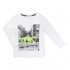 T-shirt Dinosaure Ville Blanc