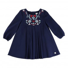 Robe Twill Brodé Bleu indigo