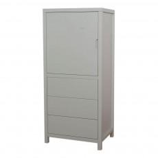 Armoire 1 porte 3 tiroirs Joy Gris clair
