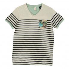 T-shirt Lin Rayé Poche Tropicale Ecru
