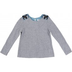 Top Strass Epaules Gris chiné