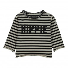 T-Shirt Rayé Hippie Jersey Lourd Sunny Ecru