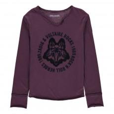 T-Shirt Loup Boxer Bordeaux