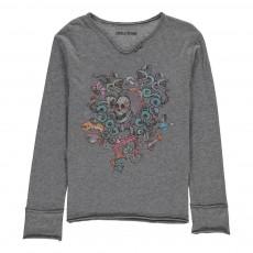 T-Shirt Imprimé Boxer Gris chiné