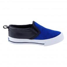 Slip-On Cuir Bicolore Bleu électrique