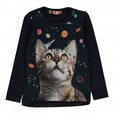 T-Shirt Chat Espace Lola Bleu marine