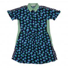 Robe Chemise Fleurs Etoiles Selma Bleu nuit