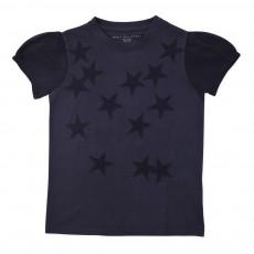 T-shirt Etoiles Manches Tulle Scribble Bleu nuit