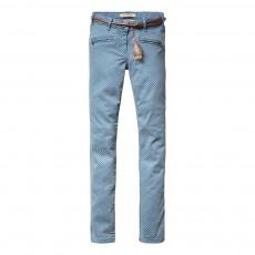 Pantalon Imprimé Skinny Fit Bleu ciel