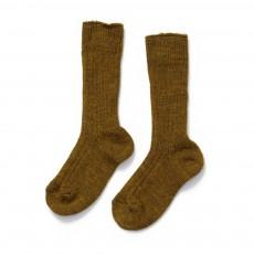 Chaussettes Basses Côtelées Vert kaki