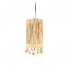 Suspension raphia forme cylindrique avec pompons Naturel