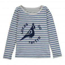 T-Shirt Rayé Oiseau Bleu marine