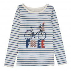 T-Shirt Rayé Vélo Bleu marine