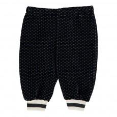 Pantalon Velours Jacquard Noir