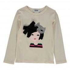 T-shirt Masque Chat Sequins Ecru