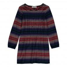 Robe Rayée Strass Multicolore