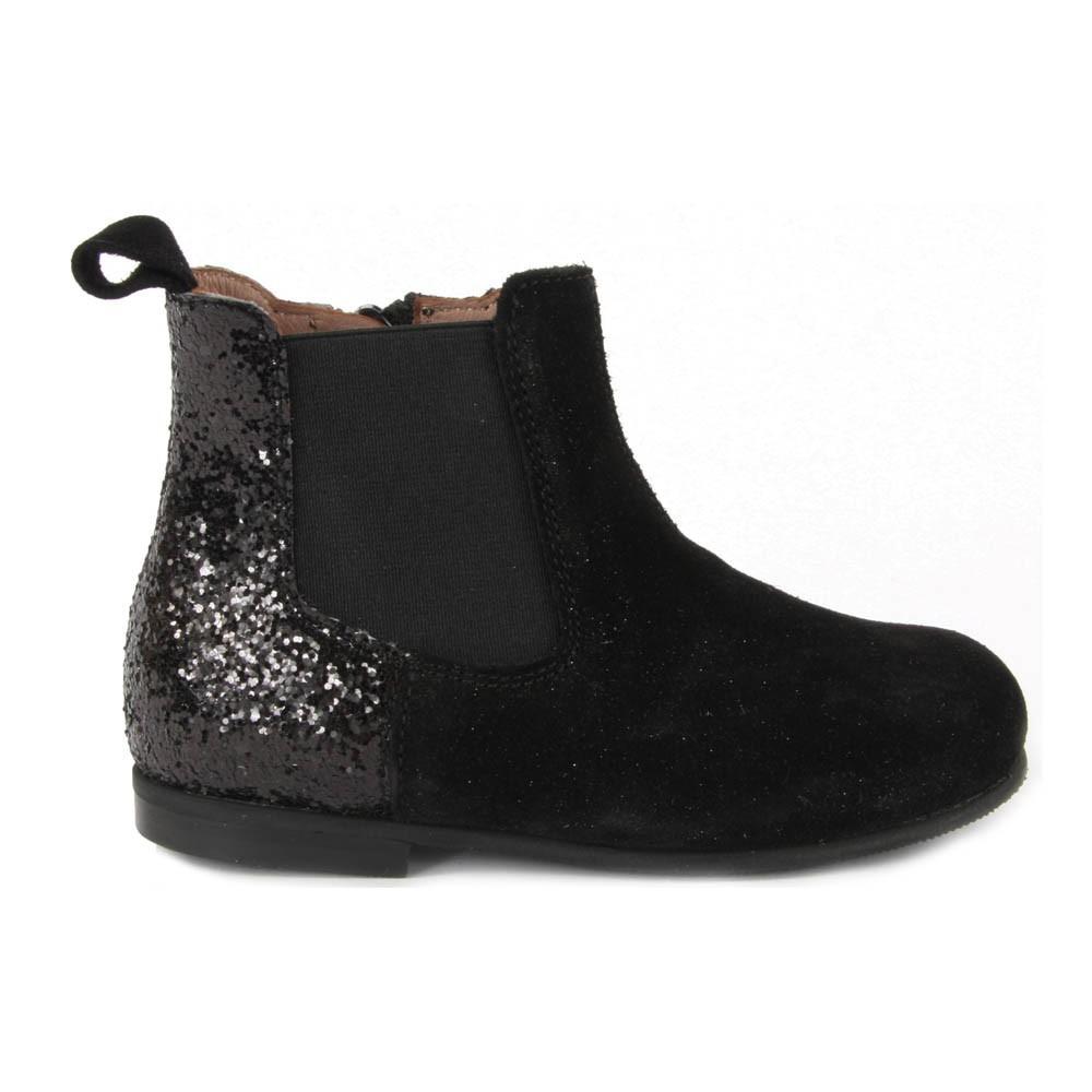 bottines elastique zipp es paillettes noir p p chaussures smallable. Black Bedroom Furniture Sets. Home Design Ideas