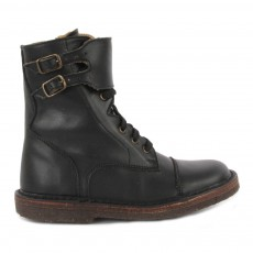 Boots Cuir Zippées Noir