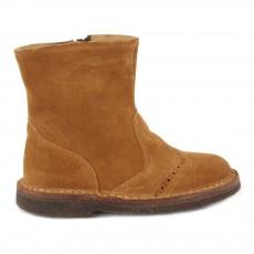 Boots Cuir Zippées Bout Fleuri Caramel