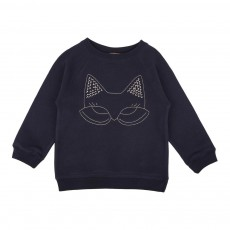 Sweat Masque Chat Brodé Bleu marine