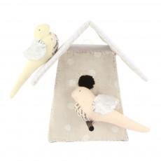 Nichoir avec 2 oiseaux - Blanc et rose