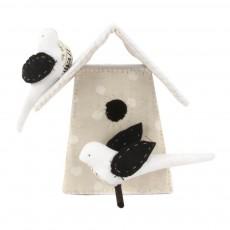 Nichoir avec 2 oiseaux - Noir et blanc