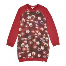 Robe Molleton Fleurs Jemma Rouge