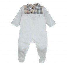 Pyjama Velours Col Tartan Blanc