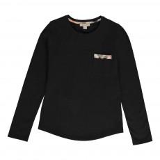 T-shirt Poche Détail Tartan Noir