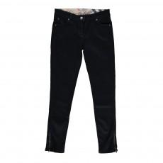 Pantalon Slim Denim Zippé Noir