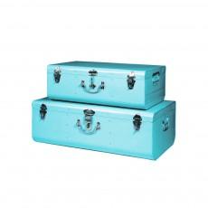 Set de 2 valises métal Bleu canard
