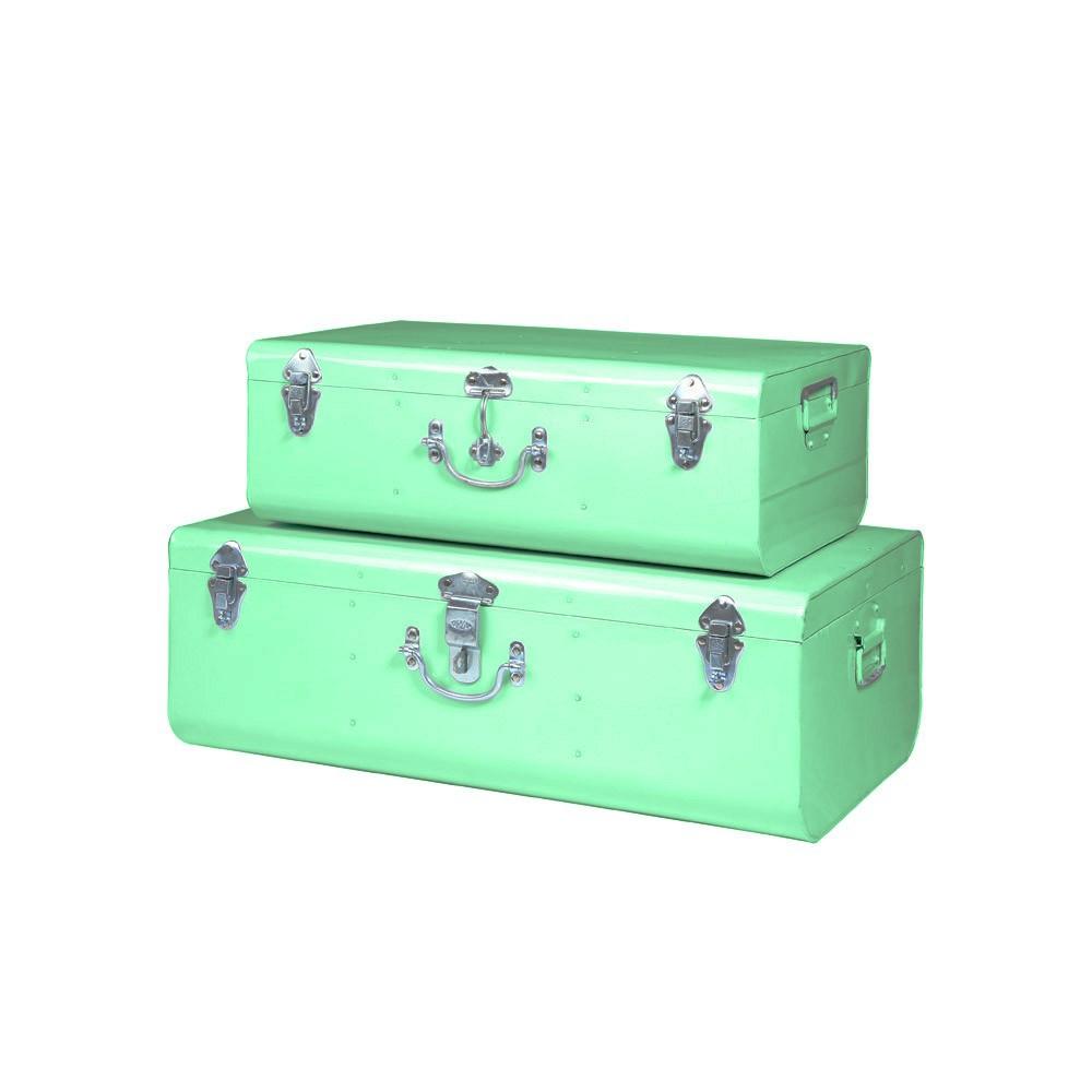 set de 2 valises m tal vert amande hindigo d coration smallable. Black Bedroom Furniture Sets. Home Design Ideas