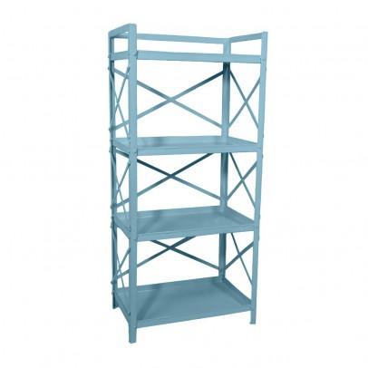 biblioth que 4 tag res m tal bleu gris hindigo mobilier. Black Bedroom Furniture Sets. Home Design Ideas