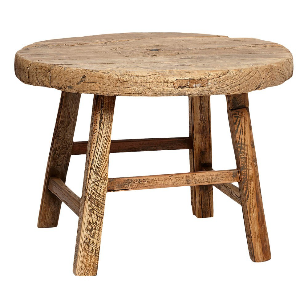 Table ronde en bois d 39 orme h bsch mobilier smallable for Table ronde en bois