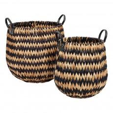 Paniers en jacinthe d'eau - Set de 2 Noir