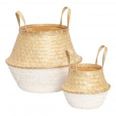 Paniers en bambou - Set de 2 Blanc