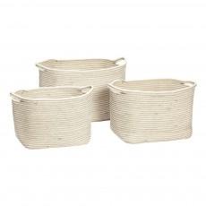 Paniers en coton - Set de 3 Blanc