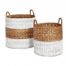 Paniers en jacinthe d'eau - Set de 2 Blanc