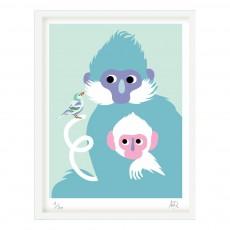 Affiche singe 30x40 cm Little Cabari x Les Petits Collectionneurs Multicolore