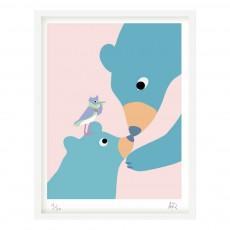 Affiche ours 30x40 cm Little Cabari x Les Petits Collectionneurs Multicolore