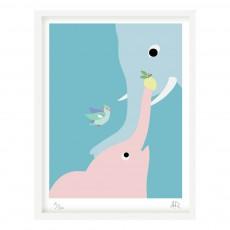 Affiche éléphant 30x40 cm Little Cabari x Les Petits Collectionneurs Multicolore