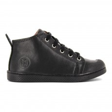Baskets Mid à Lacets Zip Nappa Noir