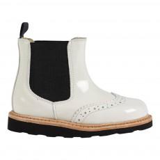 Boots Chealsea Cuir Francis Blanc