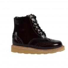 Boots Bout Fleuri Cuir Sidney Bordeaux