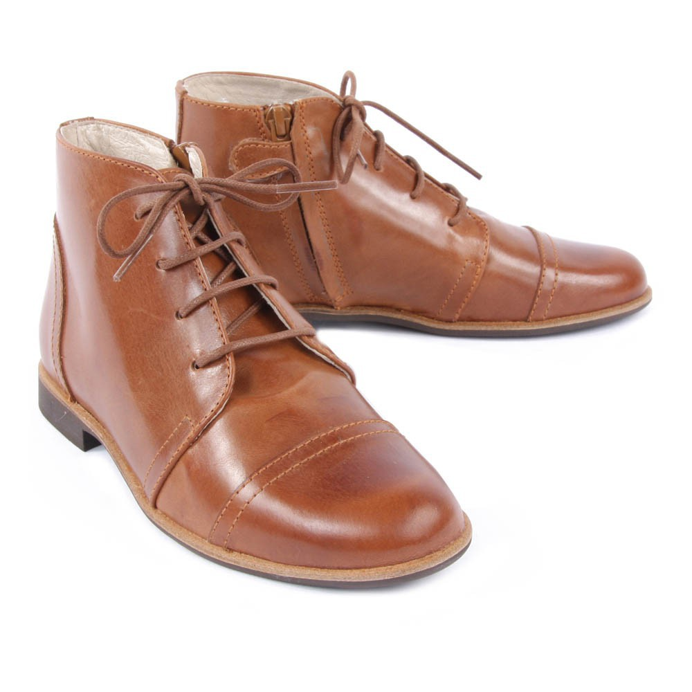 bottines lacets zipp es poppins camel manuela de juan chaussures smallable. Black Bedroom Furniture Sets. Home Design Ideas