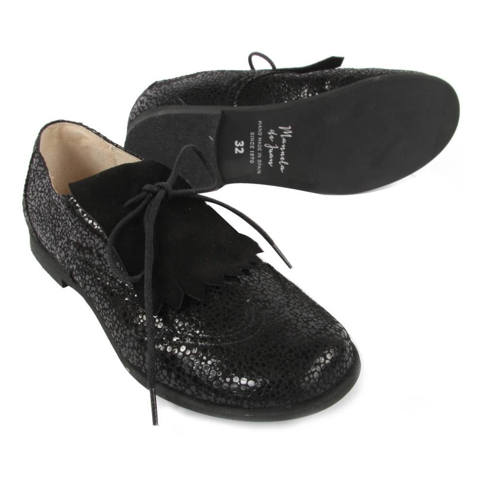 derbies franges fringe noir manuela de juan chaussures smallable. Black Bedroom Furniture Sets. Home Design Ideas